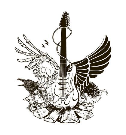 Rock n roll vector illustration. Guitar