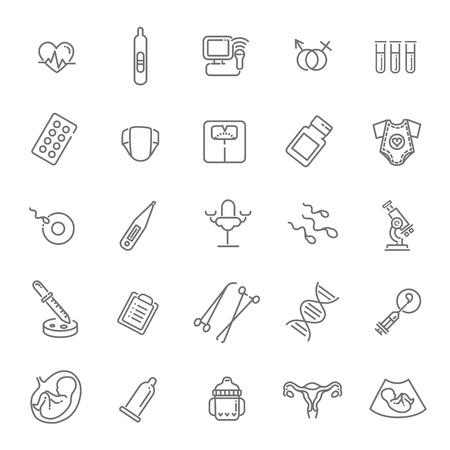 Childbirth and motherhood outline icons set