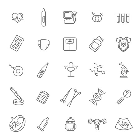 Childbirth and motherhood outline icons set