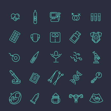childbirth: Childbirth and motherhood outline icons set