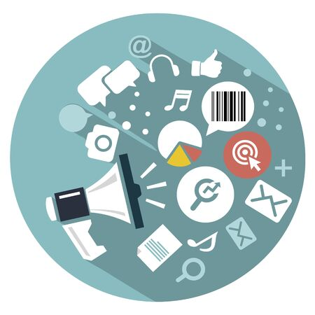 web marketing: flat icon Web marketing and PR