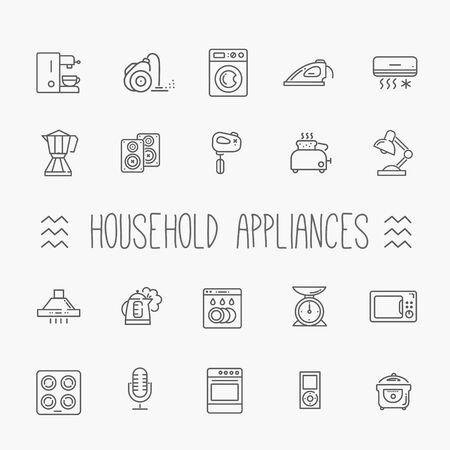 music machine: line vector icon collection - household appliances