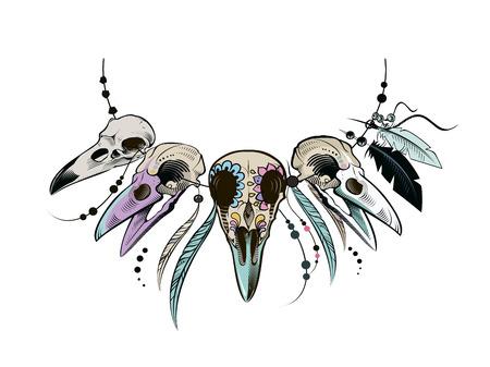 Cuervo Cráneo mexicano del azúcar. Cráneo del cuervo. ilustración vectorial