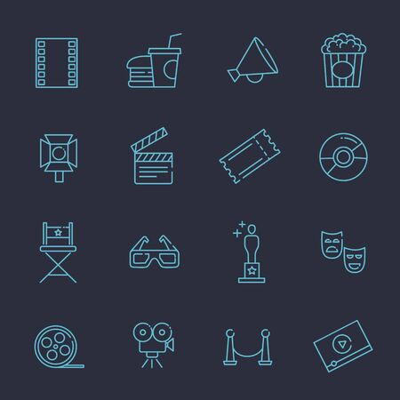 movie production: Entertainment icons, movie production line vector icons Illustration