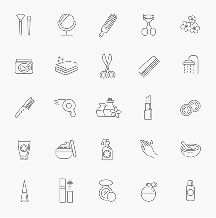 vector cosmetic, makeup, perfume, outline icons. Flat icons