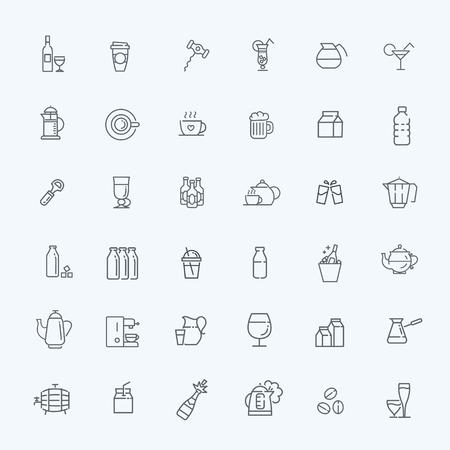 alcohol series: vector line web icon set - drink coffee, tea, alcohol