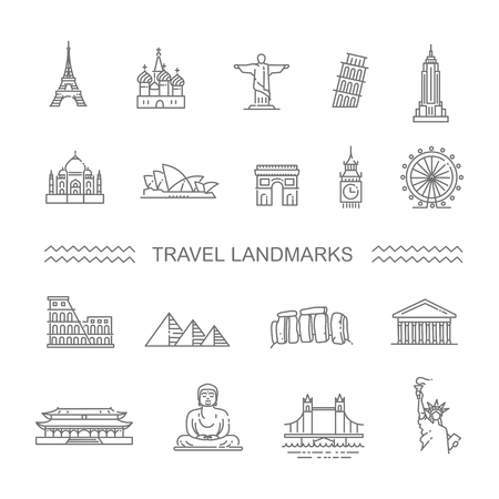 forbidden city: Flat line design style illustration icons set and  top tourist attractions, historical buildings, towers