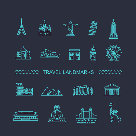 forbidden city: Flat line design style illustration icons set of top tourist attractions, historical buildings, towers