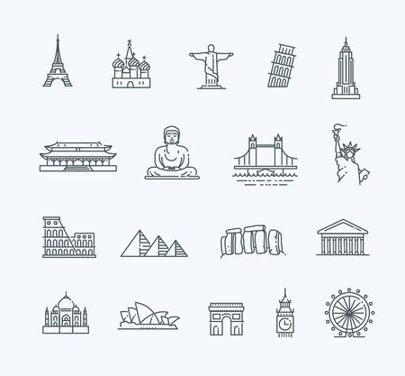 historical: Flat line design style illustration icons set and  top tourist attractions, historical buildings, towers