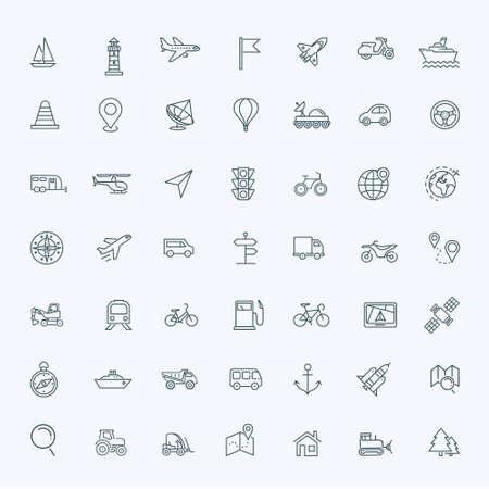 motocycle: line icons set - navigation, location and transportation