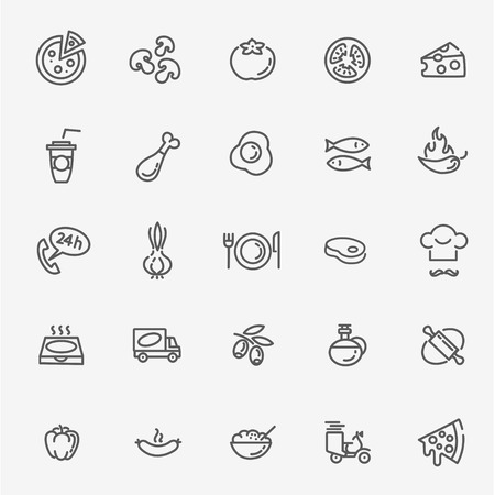 Italian traditional pizza outline icons set Illustration