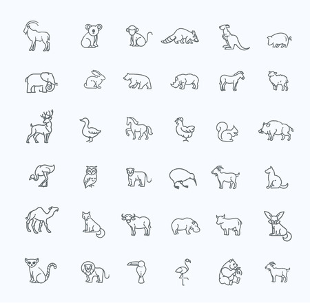 animal icons. outline icon set. Zoo
