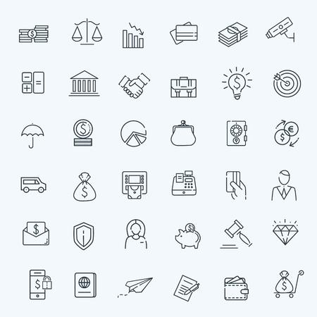 set of money: Outline web icon set - money, finance, payments