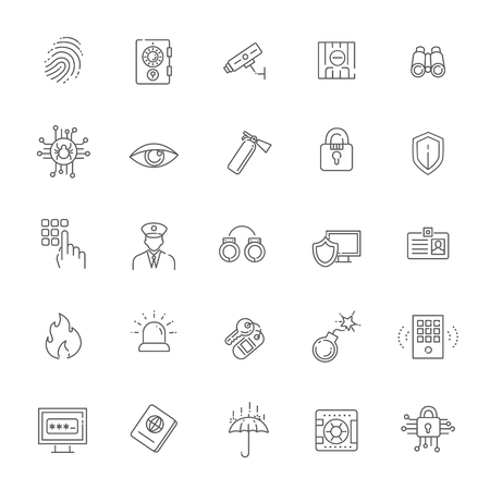 perpetrator: black security icons isolated over white background.