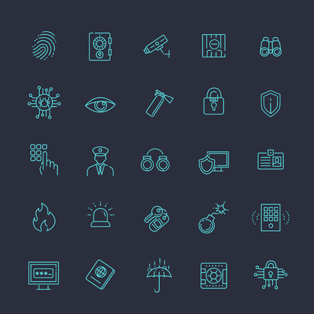 signaling: black security icons isolated over white background.