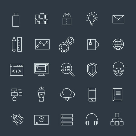 programming code: Code, programming icon. Application, settings, management outline icons Illustration