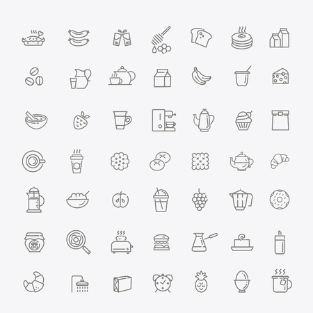 bread maker: Breakfast food outline icons set. Cooking Illustration