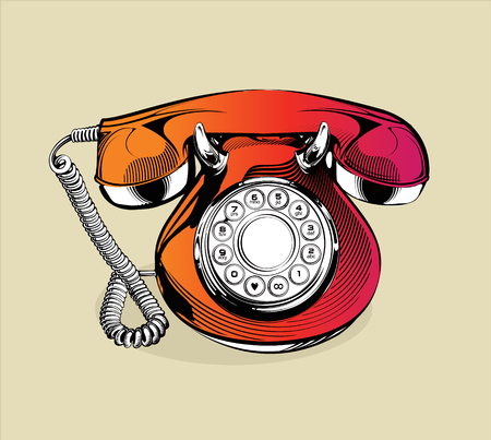 classic retro phone illustration. Engraving illustration.