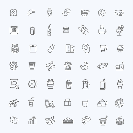 shrimp cocktail: Cooking. Fast food outline icons set