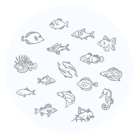 outline fish: Set of outline fish icons, aquarium Illustration