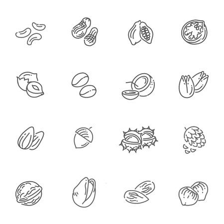 outline icons collection - nuts, beans and seed Vettoriali