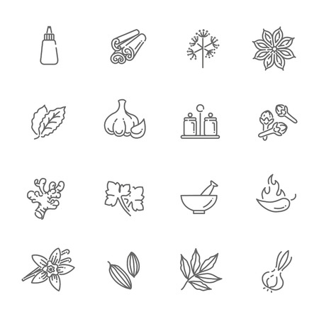 condiments: outline icon set - spices, condiments and herbs Illustration