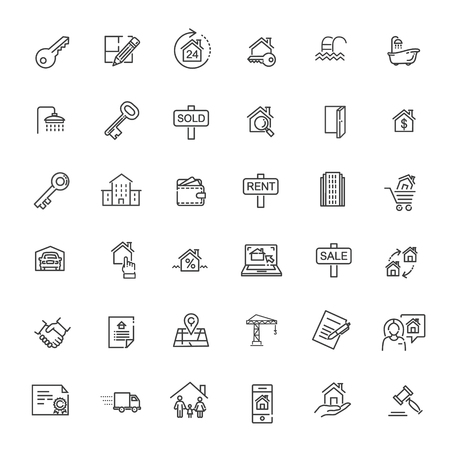 Outline web icons set - Real Estate. Immovables 向量圖像