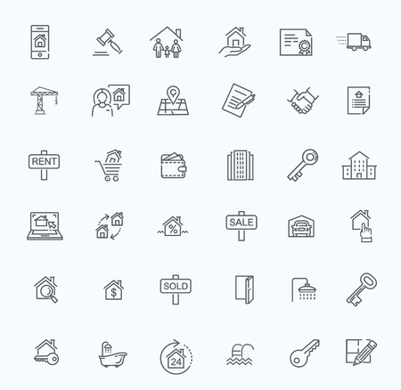 line web icons set - Real Estate. Çizim