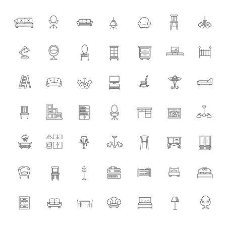 icônes meubles, conception de la ligne simple et mince