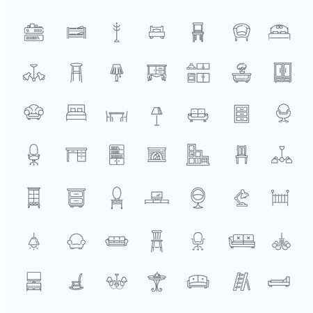 Furniture icons, simple and thin line design Illustration