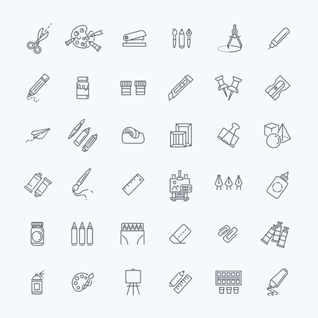 palette knife: Drawing tools icon set, thin line style, flat design Illustration