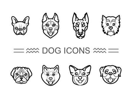 breeds: Set icons dogs. vector icons dog breeds Illustration