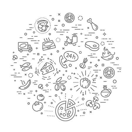 Italiane tradizionali pizze icone vettoriali contorno set Vettoriali
