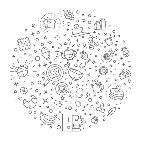 bread maker: Breakfast food vector outline icons set. Cooking Illustration