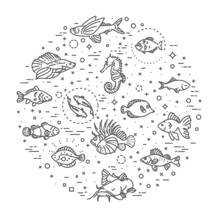 outline fish: Set of  outline fish icons, aquarium