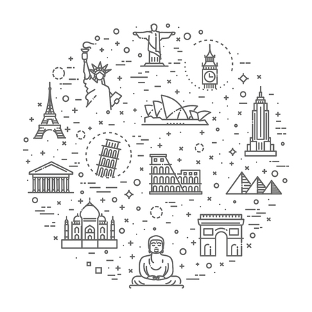 Flat line design style vector illustration icons set and logos of top tourist attractions, historical buildings, towers