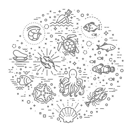 and marine life: cartoon set of marine life objects and symbols Illustration