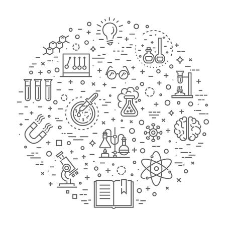 Los iconos modernos de líneas finas conjunto de investigación bioquímica, experimento de laboratorio de biología Ilustración de vector