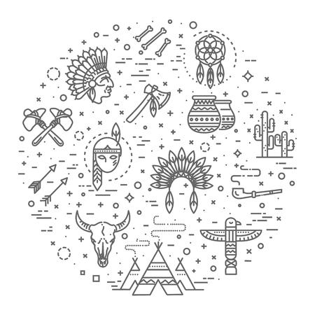 Wild west american indian designed element traditional art concept Illustration
