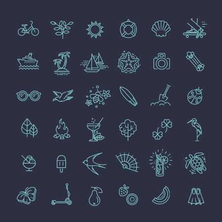 thin ice: Outline web icon set - summer, vacation, beach
