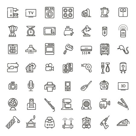Outline icon collection - household appliances. Illustration