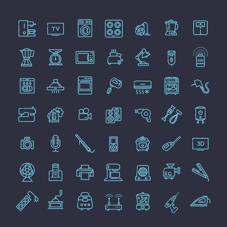 boiler: Outline icon collection - household appliances Illustration
