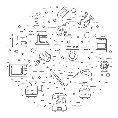Outline icon collection - household appliances Stock Vector - 78341244
