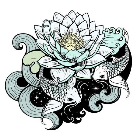 hokusai: Koi carps in pond