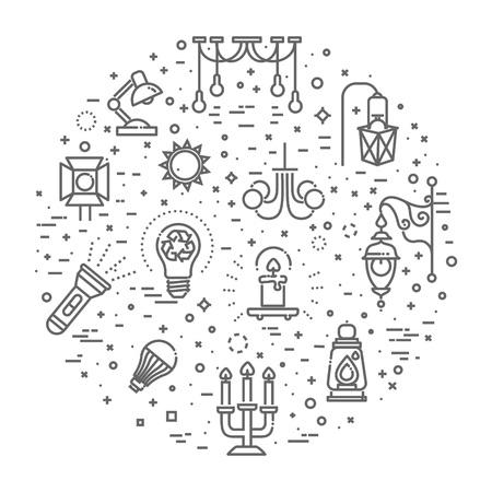 Lamp flat Icon Set Illustration