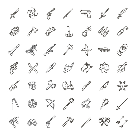 Weapons vector icons set, Arms solid symbol.