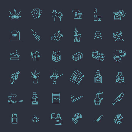 Simple Set of Drugs Related Vector Line Icons Stock Vector - 79733932