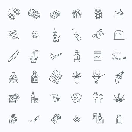 Icônes de lignes vectorielles associées aux drogues simples Banque d'images - 79868617
