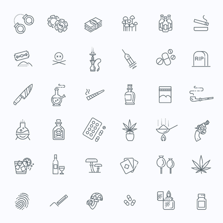 Simple Set of Drugs Related Vector Line Icons Illustration