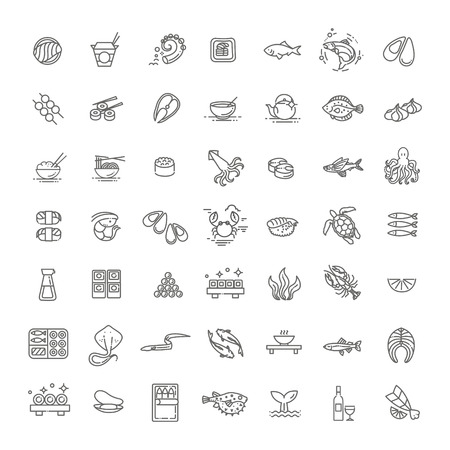 Fish and seafood - outline icon collection, vector for restaurant menu Stock Illustratie